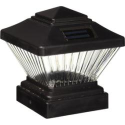 PL246 Matte Black Color Square Solar Light Post Cap Pvc Fence Style