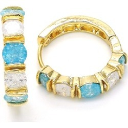 Modernist Genuine Hoop Huggie, Channel Set with Aqua Blue Stones found on Bargain Bro India from groupon for $10.00