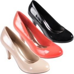 Hailey Jeans Co. Womens Round Toe Patent Pumps