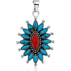 Bling Jewelry Silver Reconstituted Turquoise Dyed Coral Flower Pendant