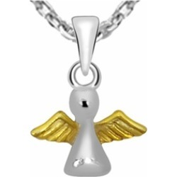 Orchid Jewelry Two Tone 925 Sterling Silver Flying Bird Necklace