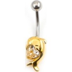 Gold Plated Dolphin and Heart CZ Design Belly Button Ring 14g