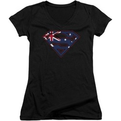 Uzstt Superman DC Comics Australian Flag Shield V-Neck Adult Tee