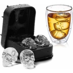 Skull Shape 3D Ice Cube Mold Maker Bar Party Silicone Ice Makers