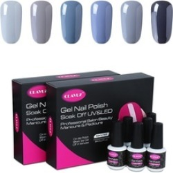 Soak Off 6pcs Gray UV LED Nail Lacquer Set Nail Art New Starter Kit found on MODAPINS from groupon for USD $15.49