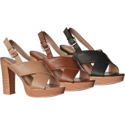 Riverberry Women's Maya Faux-Leather Chunky-Heel Platform Sandals