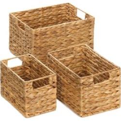 Set of 3 Deep Woven Hyacinth Straw Nesting Storage Baskets