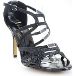 Caged Glitter Beaded Platform Heels Sandals Black