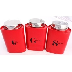 Triangular Tea Coffee and Sugar Red Canisters, Set of 3