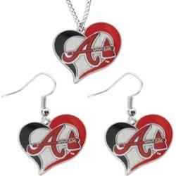 Sports Team Logo Swirl Heart Necklace and Dangle Earring Set MLB Charm Gift