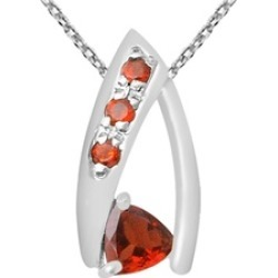 Orchid Jewelry 925 Sterling Silver 0.7 Carat Garnet Necklace