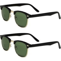 Set of 2 Pairs of Sunglasses - Square/Round/Wayfarer 100%UV Protection