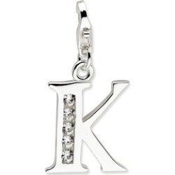 Silver Rhodium Plated Synthetic CZ Letter K with Lobster Clasp Charm