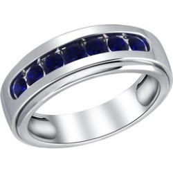 Orchid Jewelry 925 Sterling Silver 1-1/8 Carat Sapphire Men's Ring