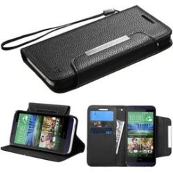 Insten Folio Leather Case Lanyard w/stand/Card For HTC Desire 510Black