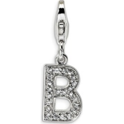 Silver Rhodium Plated Synthetic CZ Letter B with Lobster Clasp Charm