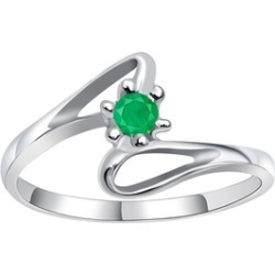 Orchid Jewelry 925 Sterling Silver 0.10 Carat Emerald Ring