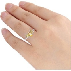 Orchid Jewelry 925 Sterling Silver 5/7 Carat Citrine Three Stones Ring