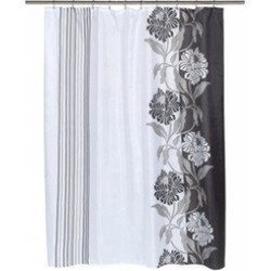 Carnation Home Fashions FSC-CH-16 Chelsea Fabric Shower Curtain in Black