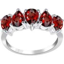 Orchid Jewelry 925 Sterling Silver 2-1/2 Carat Garnet 5-stone Ring