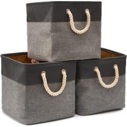 CHEAP Collapsible Storage Bin Cube Basket Foldable Canvas Tweed Storage Bin Set