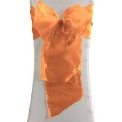 LA Linen 8x108Ogz-Pk10-OrangeO48 Sheer Mirror Organza Bow Sashes Orange - 8 x 10