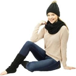 Women's Winter Hat, Infinity Scarf & Leg Warmers Set
