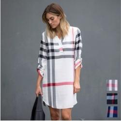 Roll-Tab Plaid Print Dress