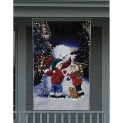 4' Lighted Snowman with Children Christmas Banner