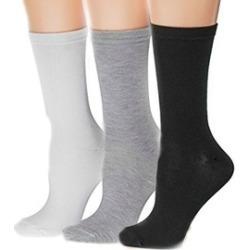 Women's Lightweight Ladies Solid Long Cotton Assorted Crew Socks Packs