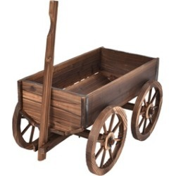 Costway Wood Wagon Flower Planter Pot Stand W/Wheels Home Garden Decor