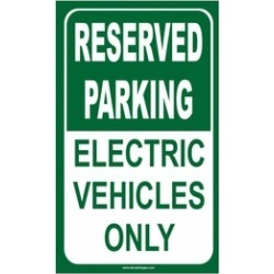 Reserved Parking For Electric Vehicles Only Aluminum Sign