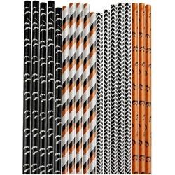 50 pcs/lot Halloween bat striped Paper Drinking Straws