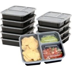 10 Pack 3 Compartment Food Grade Meal Prep Storage Container Boxes