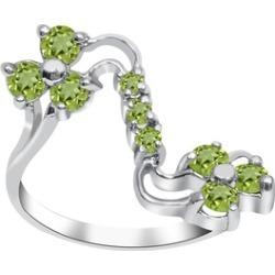Orchid Jewelry 925 Sterling Silver 1 Carat Peridot Floral Ring