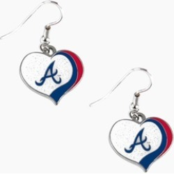 Sports Team Logo MLB Glitter Heart Earring Swirl Charm Set