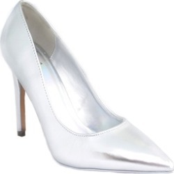 Silver Metallic Cindy by Delicious Classic Pointy Toe Heels Women's