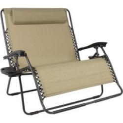 2-Person Double Wide Folding Zero Gravity Chair Patio Lounger