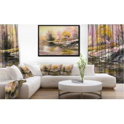 River s Farwell to Autumn - Landscape Art Print Framed Canvas