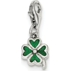 Sterling Silver Green Enameled Four Leaf Clover Charm