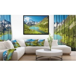 Mountain Lake with Green Hills - Photography Framed Canvas Art Print