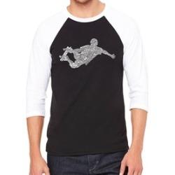 LA Pop Art Men's Raglan Baseball Word Art T-Shirt-POPULAR SKATING MOVES & TRICKS
