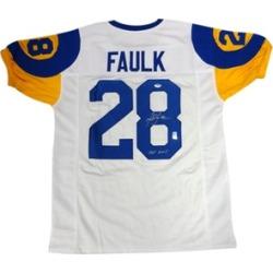 Autographed Marshall Faulk St. Louis Rams White Custom Jersey