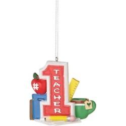 "3"" Grade or High School #1 Teacher with Supplies Christmas Ornament"