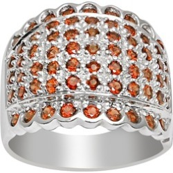 Orchid Jewelry 925 Sterling Silver 3 1/4 Carat Garnet Cocktail Ring