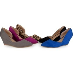 Journee Collection Womens Faux Suede D'orsay Pointed Toe Wedges