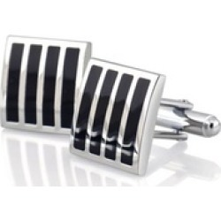 Black Silver Square Mens Wedding Gift Stripe Cuff Links Cufflinks