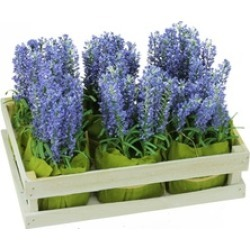 Set of 6 Artificial Lavender Plants in Crate Spring Time Decoration