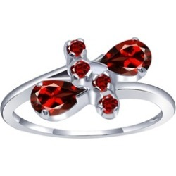 Orchid Jewelry 925 Sterling Silver 1 1/3 Carat Garnet Anniversary Ring