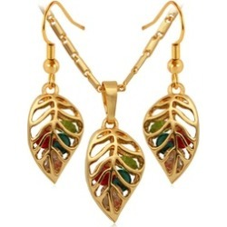 Gold Color Colorful Leaf Necklace Earrings Jewelry Sets for Women